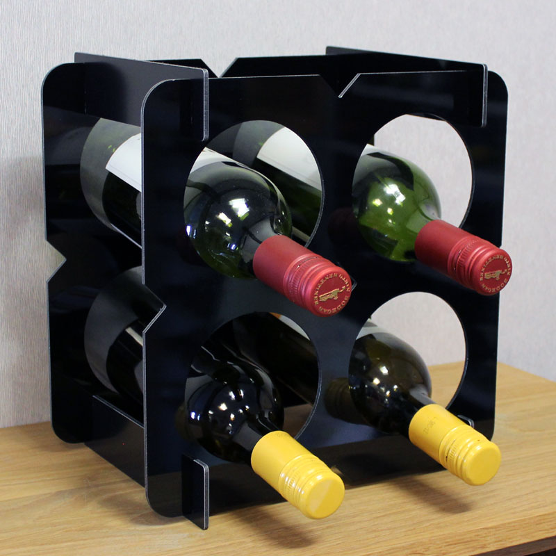 Flat Pack Wine Rack Countertop 4 Bottle Box - Black