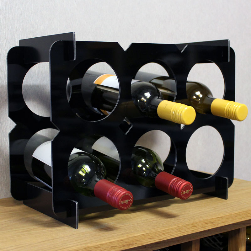 Flat Pack Wine Rack Countertop 6 Bottle Box - Black