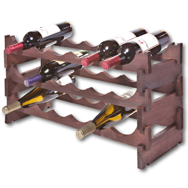 Self Assembly Dark Stain Wooden Wine Rack