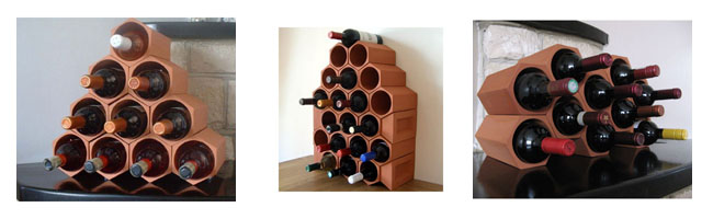 Terracotta wine racks
