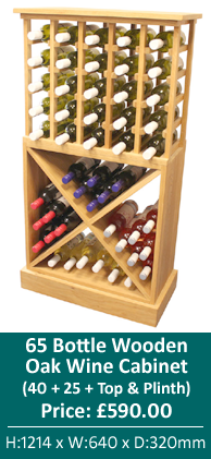 65 Bottle Wooden Oak Wine Cabinet