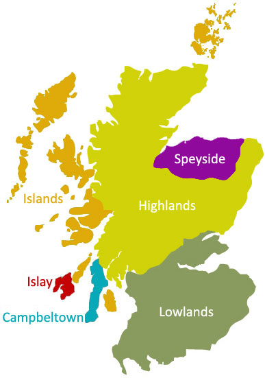 Scottish Whisky Regions Guide Map