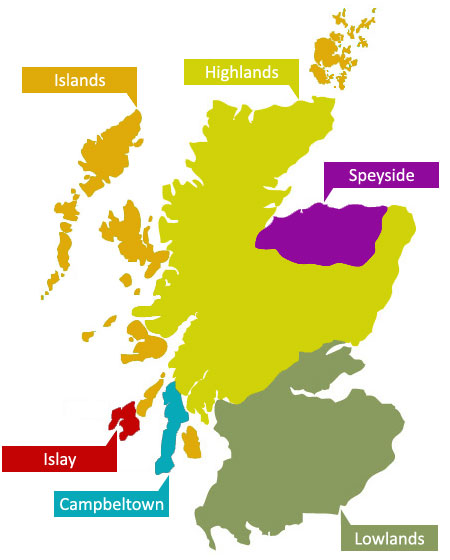 Islay Scotland Map.Scottish Whisky Regions Guide Covering All 6 Different Regions In