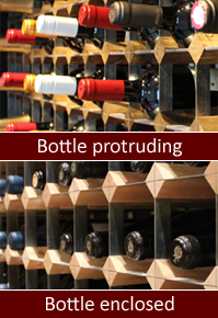 Bottle protruding and enclosed