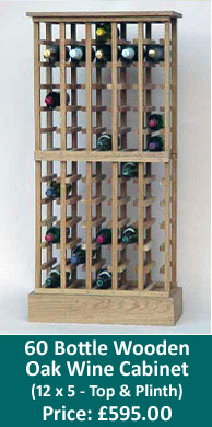 60 Bottle Wooden Oak Wine Cabinet