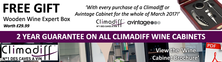 FREE GIFT - With every Climadiff or Avintage Wine Cabinet in March 2017