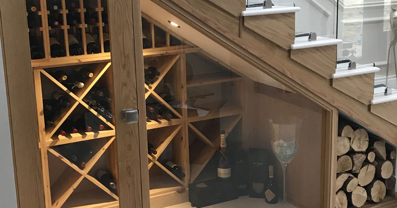 Bespoke Under Stairs Shelving: Beautifully Displayed Bespoke Under Stairs Wine Room In
