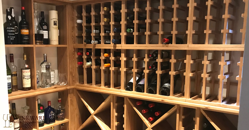 Large private residential  oak wine room provided by Wineware.co.uk