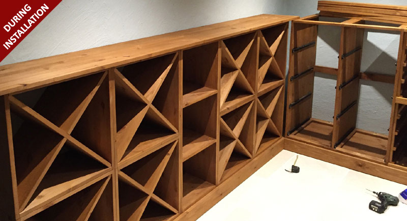 Solid Pine with a Oak stain Wine Racking provided by Wineware.co.uk