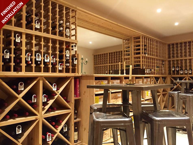Solid Pine with a Light Oak stain Wine Racking provided by Wineware.co.uk