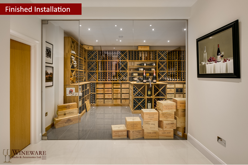 Underground oak wine room provided by Wineware.co.uk