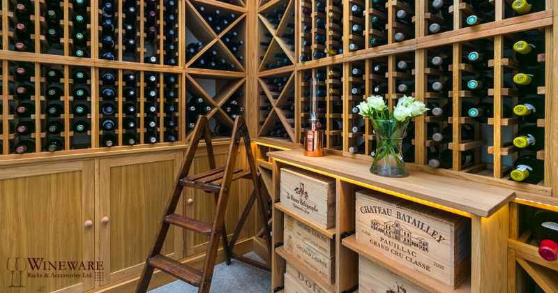 Private residential oak wine room provided by Wineware.co.uk