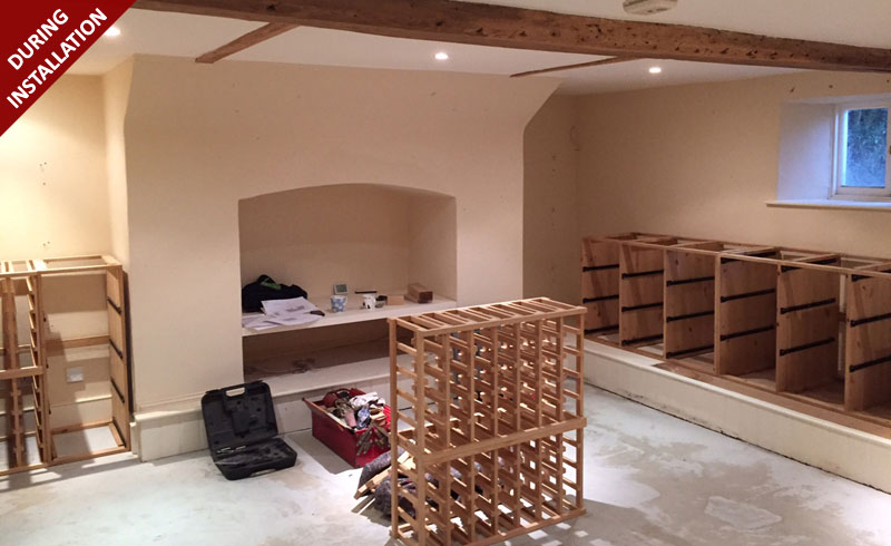Solid Pine with a Light Oak Wine Racking provided by Wineware.co.uk