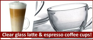 Clear glass latte & espresso coffee cups…the perfect way to drink coffee!