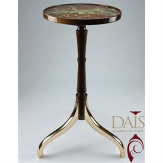 Masterpiece Dais Wine Table - Bronze, Walnut and 24ct Gold Leaf in Glass Plaque with full gloss lacquer