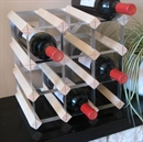 Fully Assembled Wooden Wine Rack - Natural Pine & Galvanised Steel 12 Bottle