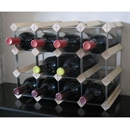 Fully Assembled Wooden Wine Rack - Natural Pine & Galvanised Steel 16 Bottle