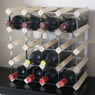 Fully Assembled Wooden Wine Rack - Natural Pine & Galvanised Steel 20 Bottle
