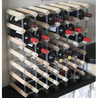 Fully Assembled Wooden Wine Rack - Natural Pine & Galvanised Steel 42 Bottle