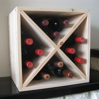 Pine Wooden Wine Rack - Mini Cellar Cube - 48 Bottles - 298mm Deep - Set of 4