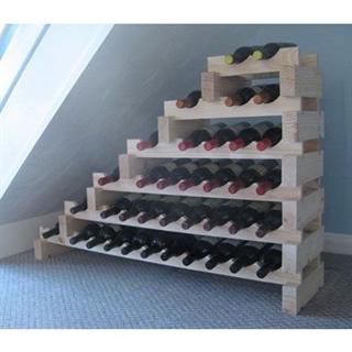 Modularack Wooden Wine Rack Under Stairs 37 Bottle - Natural Pine