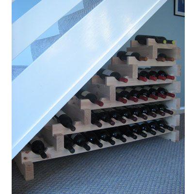 Modularack Wooden Wine Rack Stairwell 37 Bottle Natural
