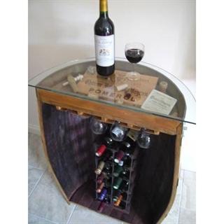 Solid Oak Half-Barrel Wine Bar / Rack