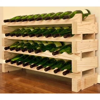 Modularack Wooden Wine Rack 36 Bottle - Natural Pine