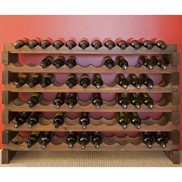 Modularack wooden wine rack bottle dark stain