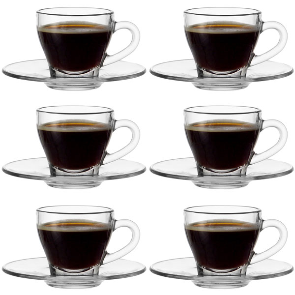 Montana Clear Glass Espresso Cup and Saucer Set - Set of 6 ...