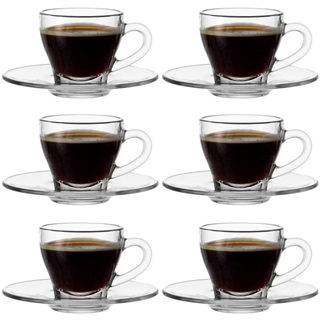 Montana Clear Glass Espresso Cup and Saucer Set - Set of 6