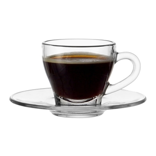 Montana Clear Glass Espresso Cup and Saucer Set