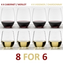 Riedel O Range Stemless Cabernet & Viognier Glasses 8 FOR 6 - 8 Glasses For the Price of 6
