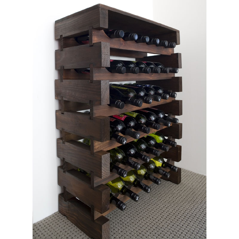 36 Bottle Modularack Wooden Wine Rack - Dark Stain with Top ...