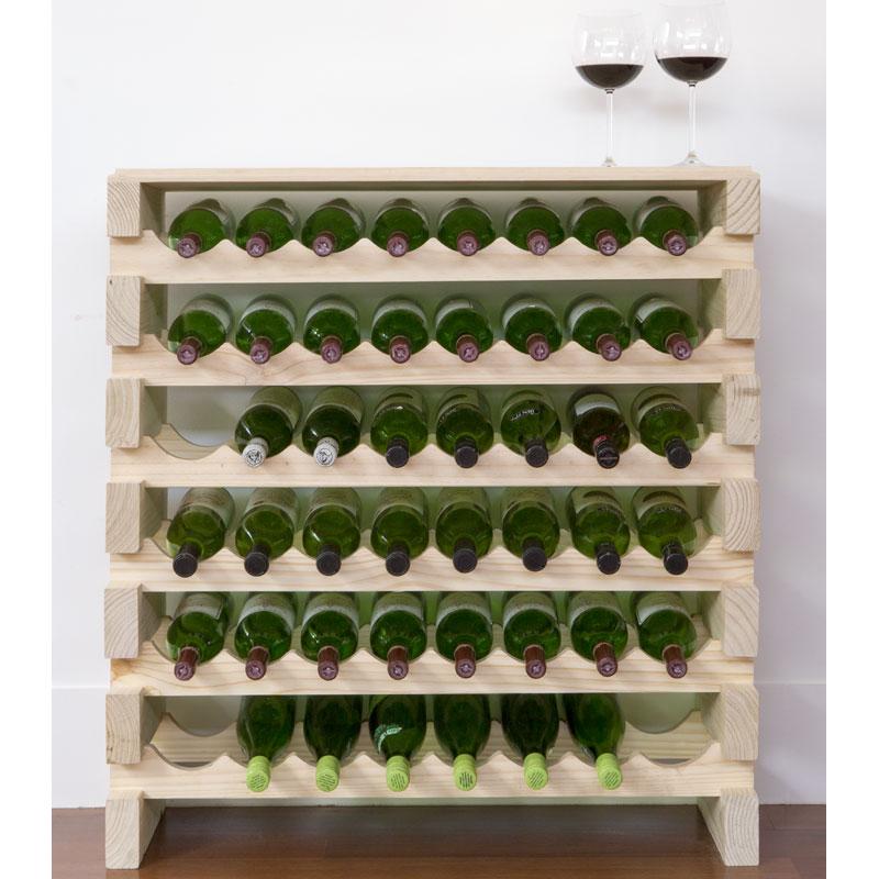 modularack wooden wine rack 48 bottle natural pine with top 6h x 8w - Wooden Wine Rack