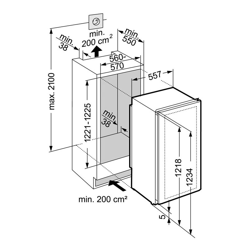 liebherr vinidor built in 2 temperature wine cabinet wtees 2053. Black Bedroom Furniture Sets. Home Design Ideas