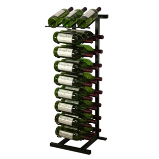 VintageView Free Standing 27 Bottle Wine Rack + Display Shelf - Black 3ft