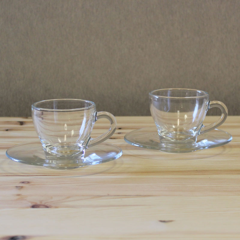 Montana Clear Glass Espresso Cup And Saucer Set Set Of 6