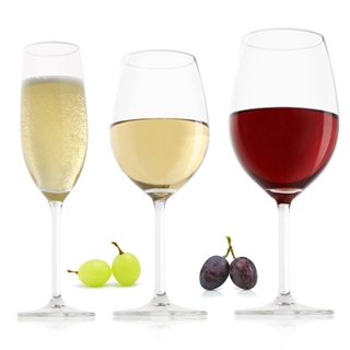 VacuVin Red, White & Champagne Glasses - Set of 18