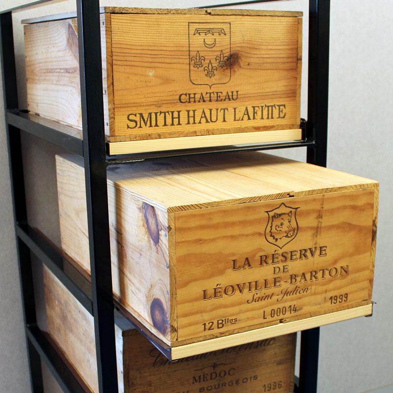 Wine Bottle Case Rack Metal Wood 7 Drawer