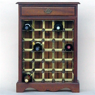 30 Bottle Mahogany Wooden Wine Cabinet / Rack with Plinth