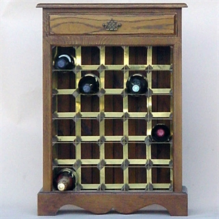 30 Bottle Oak Wooden Wine Cabinet / Rack with Plinth