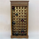 50 Bottle Oak & Brass Wooden Wine Cabinet / Rack with Plinth