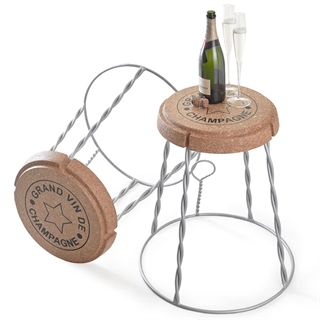 XL Giant Champagne Cork Wire Cage Side Table - Silver