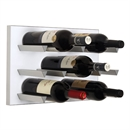 Vinowall 12 Bottle Wall Mounted Wine Rack - White Panel Silver Frame