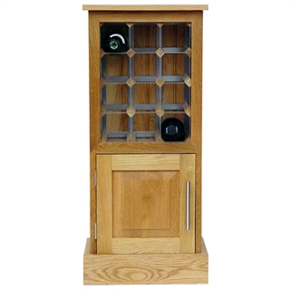 12 Bottle Contemporary Wooden Wine Cabinet / Rack with Plinth