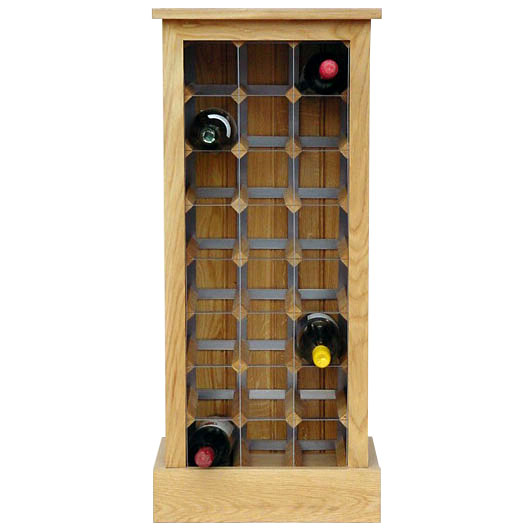 Great 24 Bottle Contemporary Wooden Wine Cabinet / Rack With Plinth