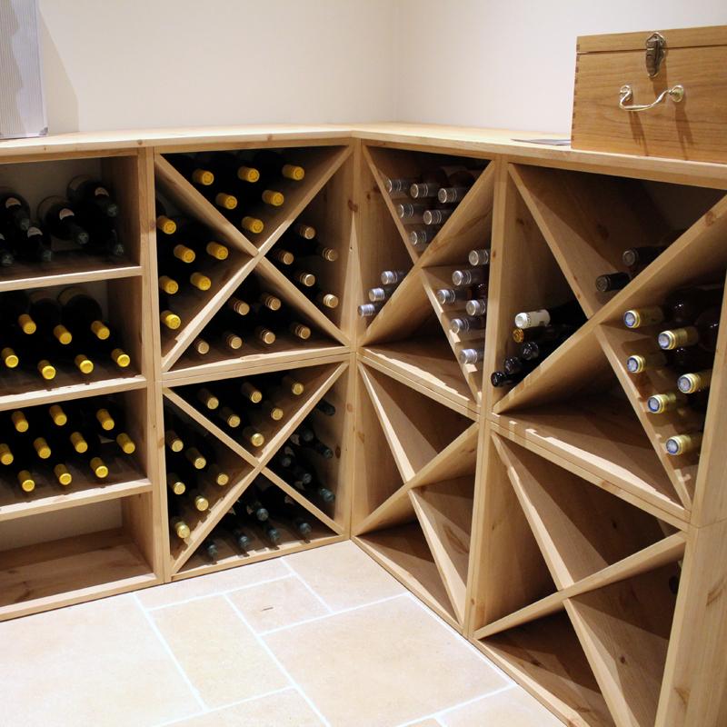 pine wooden wine rack cellar cube 96 bottles 298mm deep set of