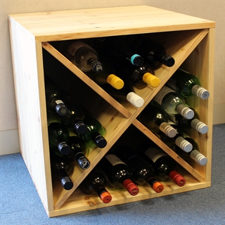 Pine Wooden Wine Rack - Double Depth Cellar Cube - 48 Bottles - 550mm Deep