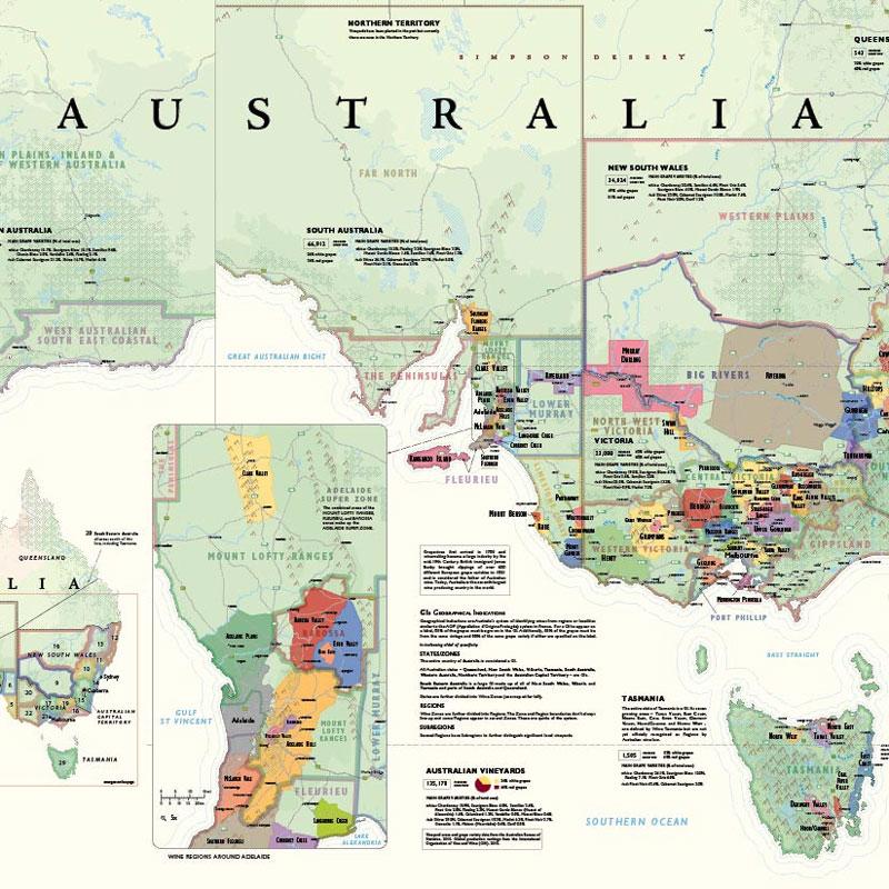 Map Of Australia Regions.De Long S Wine Map Of Australia Wine Regions